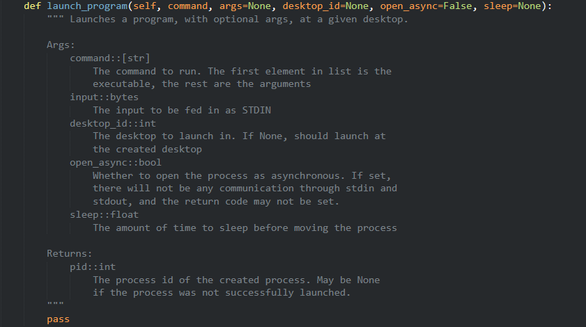 Example of a better Python docstring